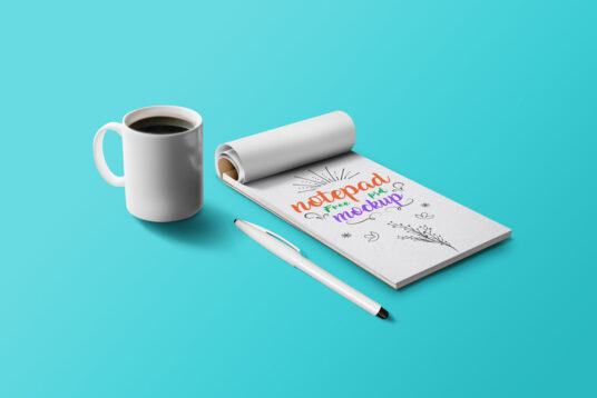 Notepad with Penl Mockup
