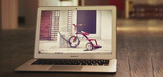 Set on the floor: MacBook Air Mockup