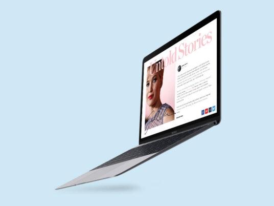 Flying MacBook Mockup