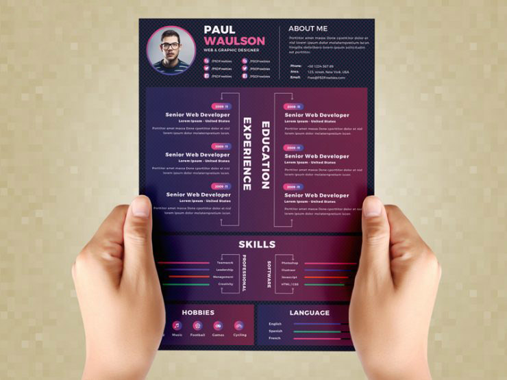 Creative Resume Design Template PSD
