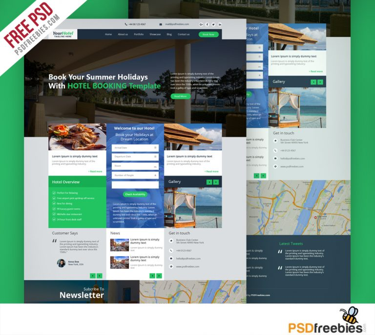 Hotel and Resort Booking Website Template Free PSD