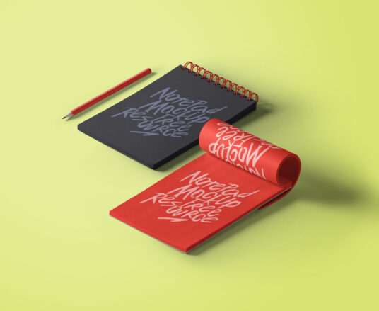 Notepads with Pencil Mockup