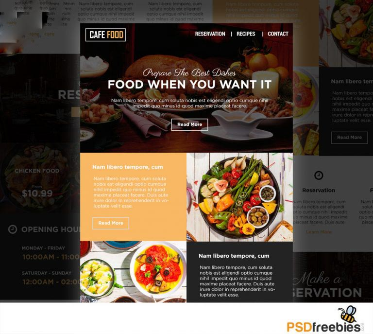 Food and Restaurant E-newsletters Free PSD Template