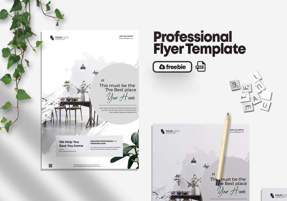Minimal Interior Promotion Flyer Free PSD Template