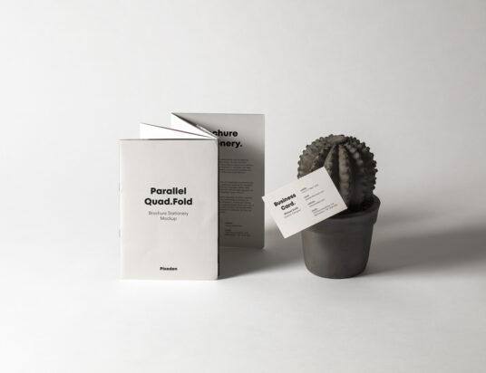 Standing Quad-fold Brochure Mockup