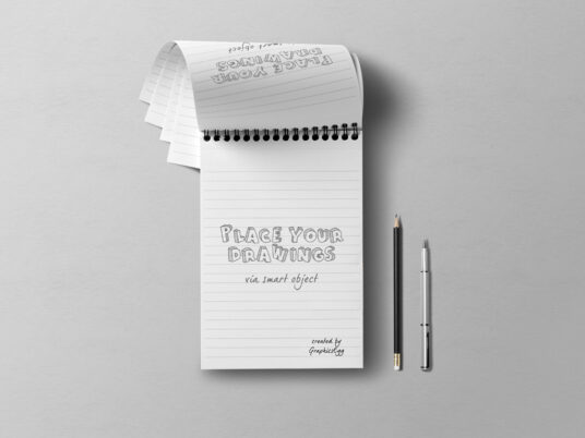 Notepad with Pen and Pencil Mockup