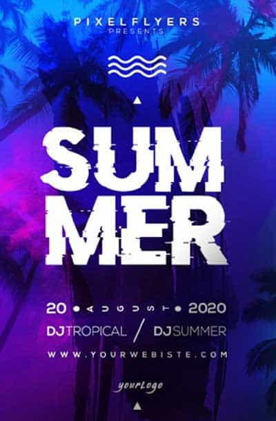 Free Summer Vibe Party Flyer PSD Template